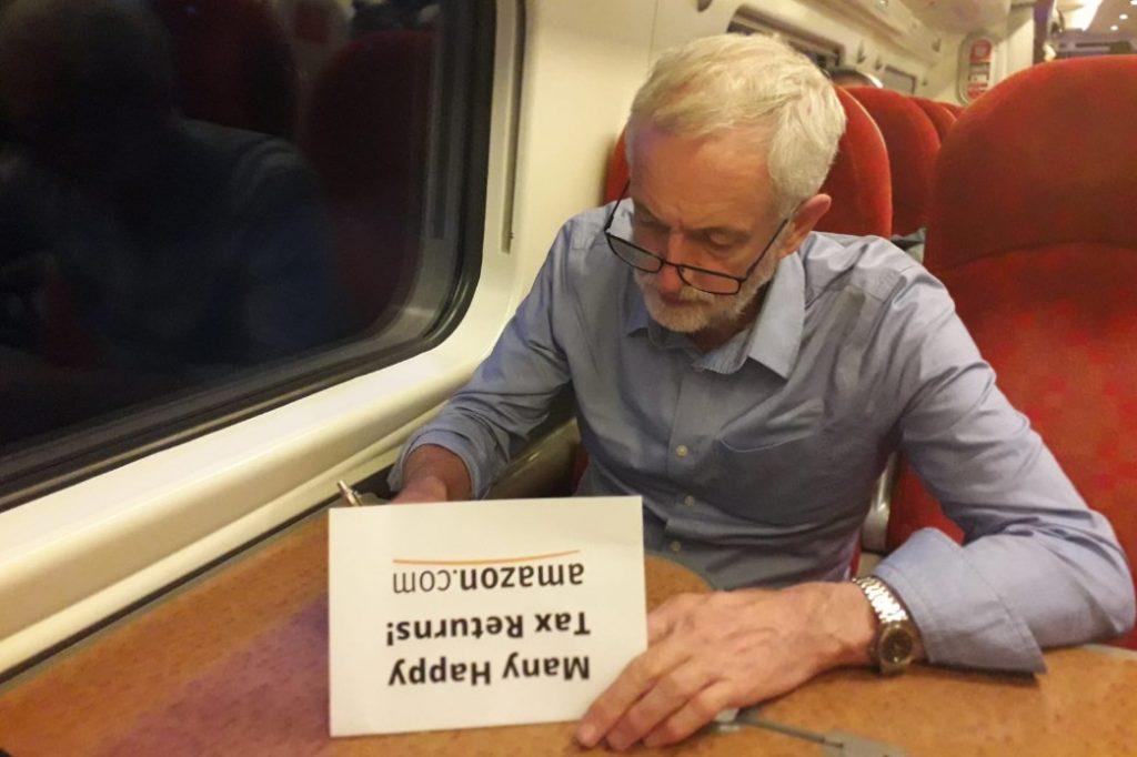 "Jeremy Corbyn wishes Amazon ""many happy tax returns"" on its 25th birthday"