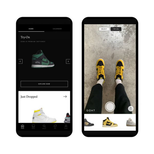 """GOAT is launching a new augmented reality """"Try-On"""" feature, allowing shoppers to virtually try on its rare and exclusive shoes before committing to a purchase."""