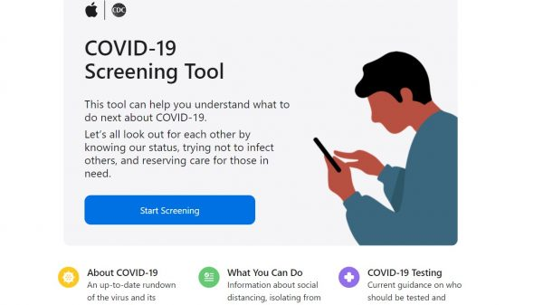 "Apple has launched a new COVID-19 website and app aimed at providing a screening tool for the virus and ""help you understand what to do next""."