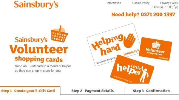 Sainsbury's has launched an e-gift cards for elderly and vulnerable customers to send to people shopping on their behalf.