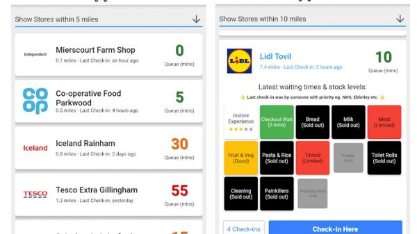 A new app has been released which informs shoppers about the size of queues outside their local supermarkets, enabling them to pick the best time to shop.