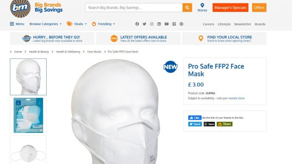 B&M has started selling a range of FFP2-grade face masks which according to official guidelines can be used safely in medical settings.