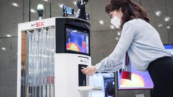 South Korean companies are using automated robots that can disinfect stores and dispense hand sanitizer to customers as the pandemic continues to accelerate the usage of such machines.