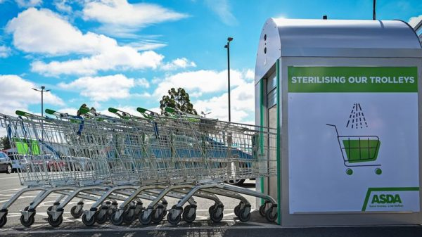 Asda is trialing a trolley cleaning machine which will kill 99.9 per cent of bacteria in a matter of seconds.