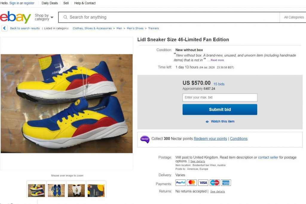 14 Lidl trainers flood Ebay selling for