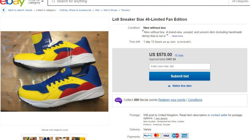 Lidl has released its own branded pair of sneakers which are now being sold for up to £450 on resale platforms at more than 30 times their original retail price.