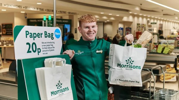 "Morrisons is set to become the first UK supermarket to do away with plastic bags entirely as it trials the roll out of ""tough"" paper alternatives."