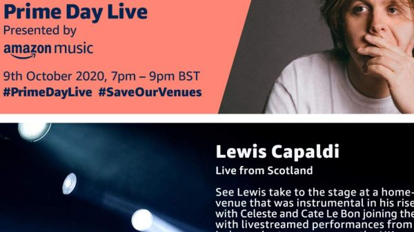 "Amazon will host a major live streaming event with Lewis Capaldi, Celeste and Cate Le Bon to raise awareness and funding for ""iconic grassroots music venues"" under threat of closure."