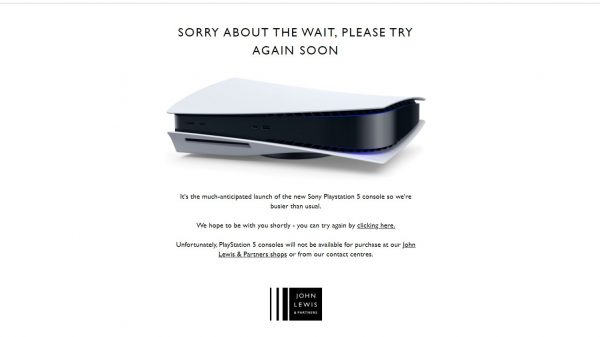 John Lewis, Game, Currys and Tesco's websites have all crashed this morning as eager shoppers scramble to get their hands on a PlayStation 5.