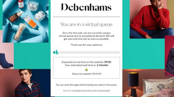 Debenhams' has been forced to place online shoppers in a lengthy virtual queue after hundreds of thousands flocked to the recently collapsed retailer in search of a bargain.