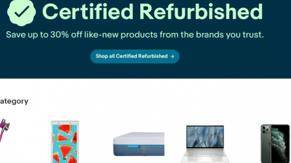 "Ebay has launched a new 'Certified Refurbished Hub' aiming to do away with the ""perceived risk"" of purchasing refurbished items."