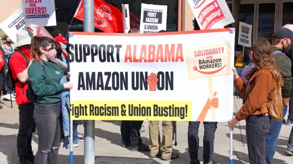 Amazon has taken a decisive lead in its landmark union vote with workers voting two-to-one to reject unionisation with half the votes counted.