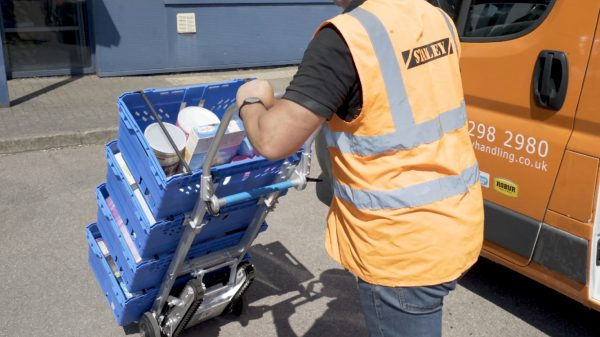 """Asda has announced the roll out of 270 """"powered stair climbers"""" to enable delivery drivers to carry crates up staircases in high rise urban developments"""