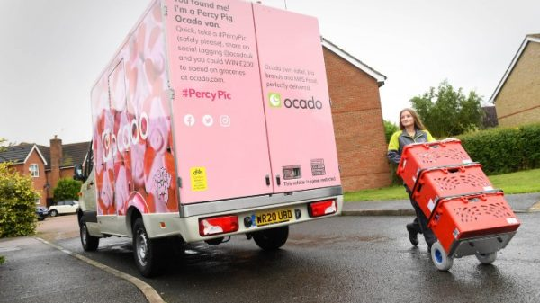 """Ocado has seen sales drop for the first time """"on record"""" as the number of households buying groceries online drops 20 per cent."""