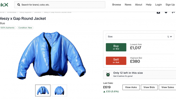 """Yeezy x Gap products have been seen on resale platform StockX at sky-high prices as Kanye West's brand gives the fashion label its first hit with """"hypebeasts""""."""